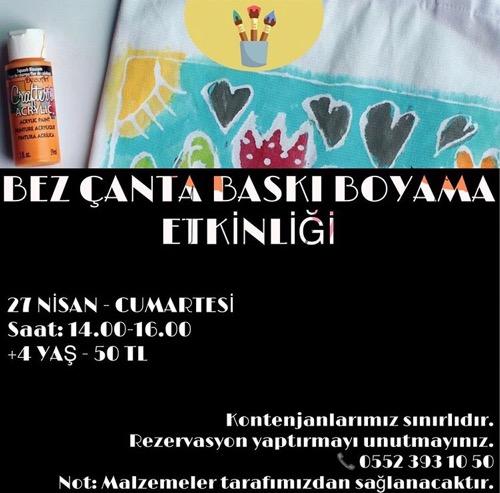 Bez çanta Baskı Boyama Etkinliği Adanada çocuk Olmak